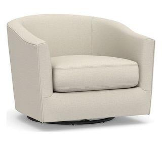Harlow Upholstered Swivel Armchair, Polyester Wrapped Cushions, Sunbrella® Performance Slub Tweed Pebble