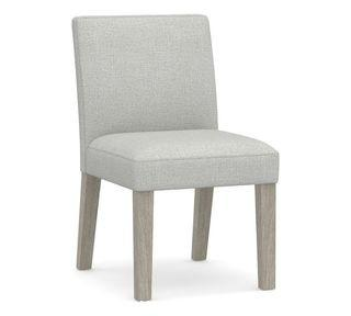 Classic Upholstered Dining Side Chair, Gray Wash Frame, Basketweave Slub Ash