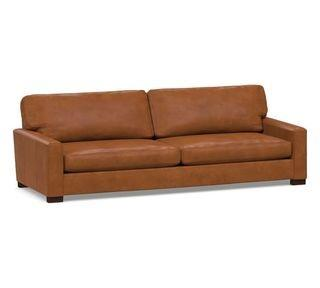 "Turner Square Arm Leather Grand Sofa-2-Seater 103.5"" without Nailheads, Down Blend Wrapped Cushions, Vintage Caramel"