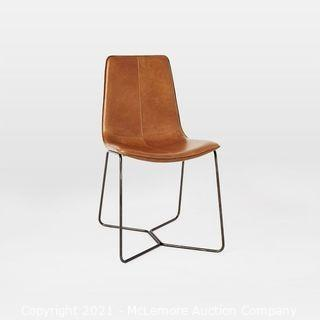 Slope Leather Dining Chair, Saddle Leather, Nut, Charcoal Leg