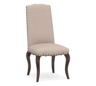 Calais Upholstered Dining Side Chair with Espresso Stained Frame, Performance Heathered Tweed Desert