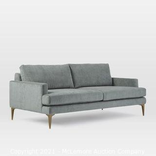 "Andes 76.5"" Sofa, Poly, Distressed Velvet, Mineral Gray, Blackened Brass"