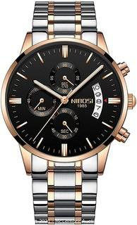 NIBOSI Men's Watches Luxury Sports Chronograph Waterproof Military Quartz Rose Gold Stainless Steel Wristwatches