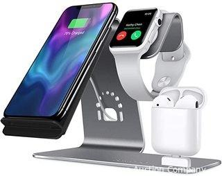 3 in 1 Aluminum Stand for Apple Watch, Charging Station for Airpods, Qi Fast Wireless Charger Dock