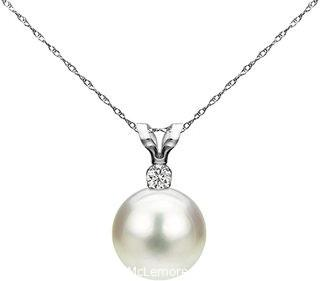 White Saltwater Cultured Japanese Akoya Pearl Diamond Pendant Necklace