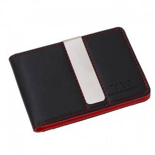 Red Black Mens Synthetic Leather Wallet with Stainless Steel Money Clip