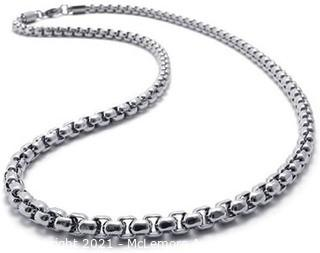 Silver Stainless Steel Sqaure Rolo Necklace Chain
