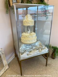 Glass Display Case with Artificial Cake