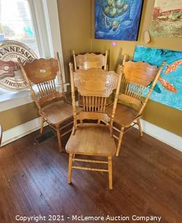 (x4) Wood Spindle Back Dining Chairs