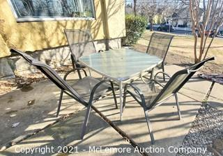 Glass Top Outdoor Patio Table with Four Chairs