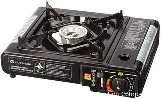Outbound Camping Stove | Portable Single Burner Butane Gas Stove | Stainless Steel | Carry Case Included | 8,000 BTUs